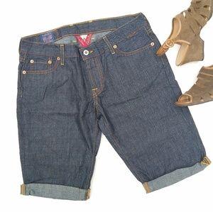 Lucky Brand • darkwash cuffed Bermuda jean shorts
